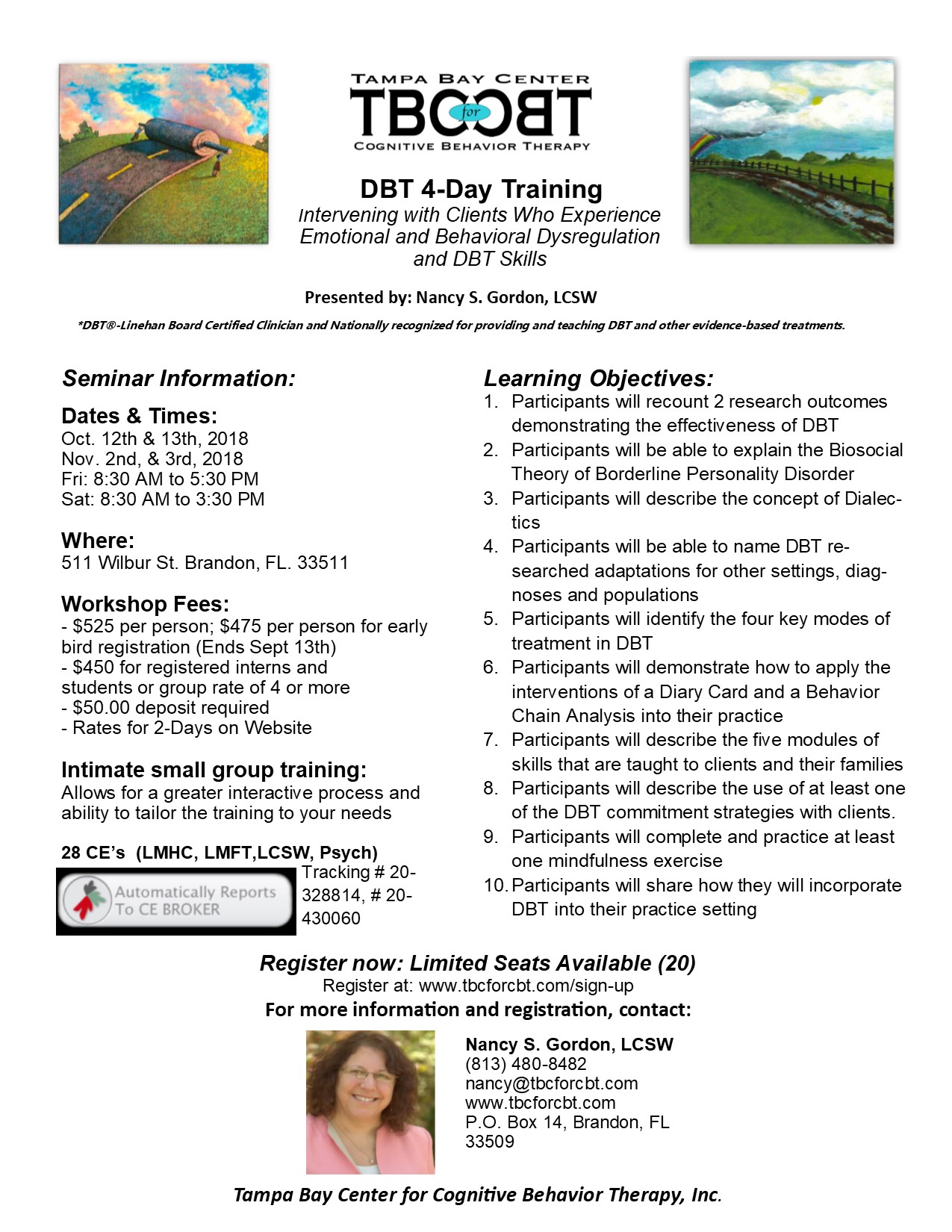 Scheduled Trainings And Workshops For Fall 2018 Tbc For Cbt